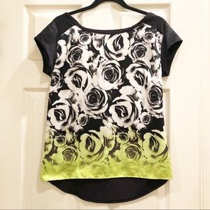 a.n.a Tops - a.n.a White/Black/Lime Green Roses Hi-Low Blouse